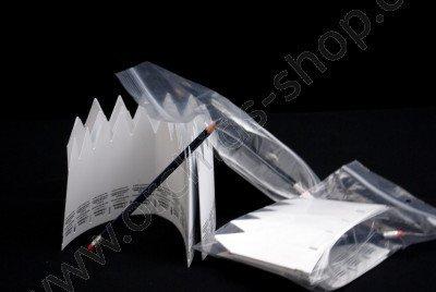 Steekkaarten met potlood en gum